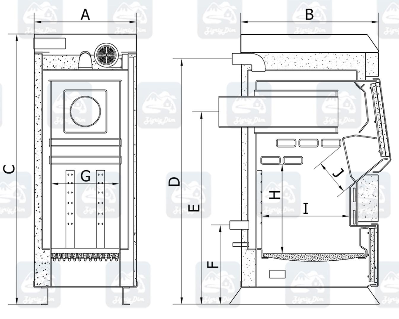 Габаритные размеры твердотопливного котла на дровах и угле Heiztechnik HT Plus