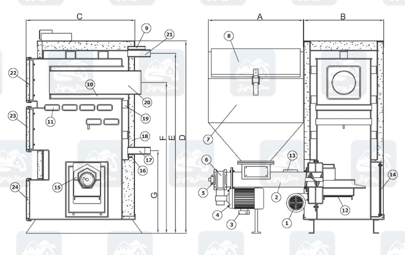 Схема и габаритные размеры пеллетного котла Heiztechnik Q Bio