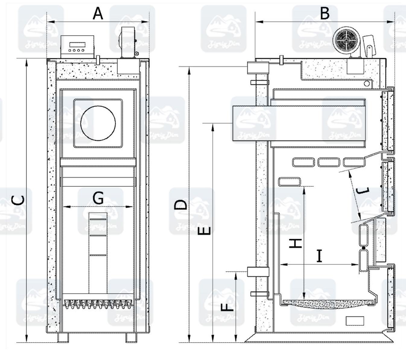 Габаритные размеры твердотопливного котла на дровах и угле Heiztechnik Q Hit Plus