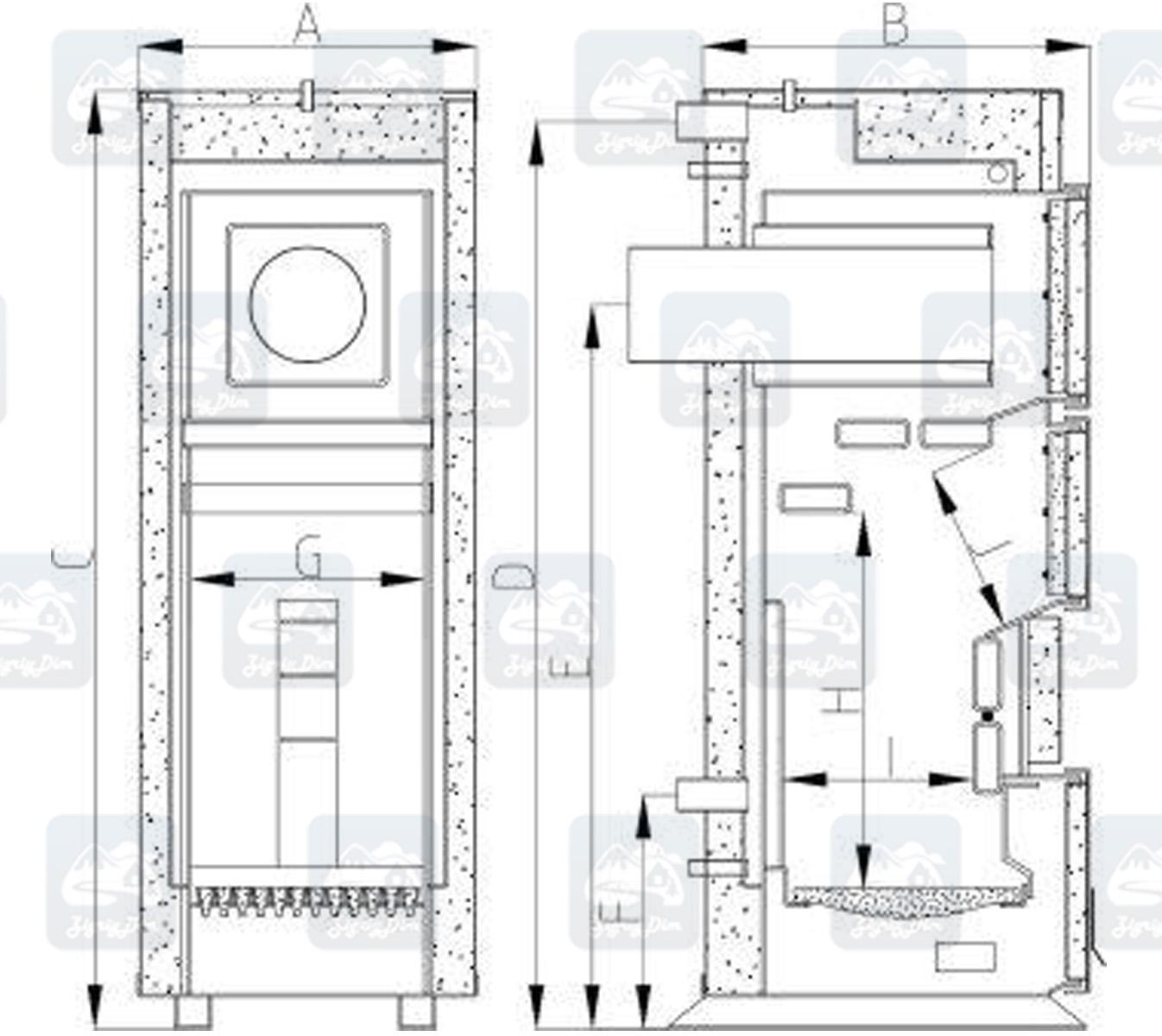 Габаритные размеры твердотопливного котла на дровах и угле Heiztechnik Q Hit