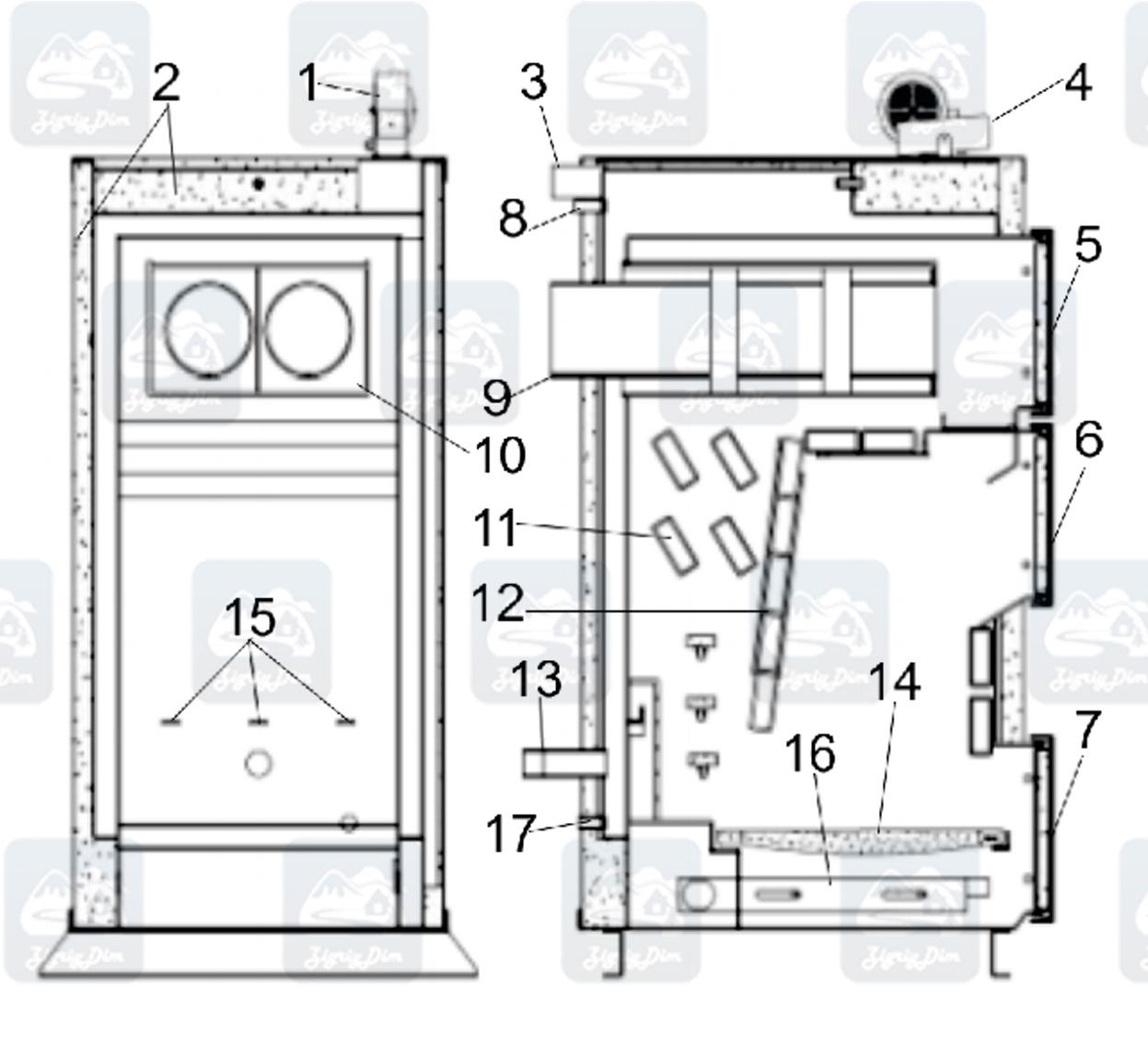Схема твердотопливного котла на дровах и угле Heiztechnik Q Plus DR