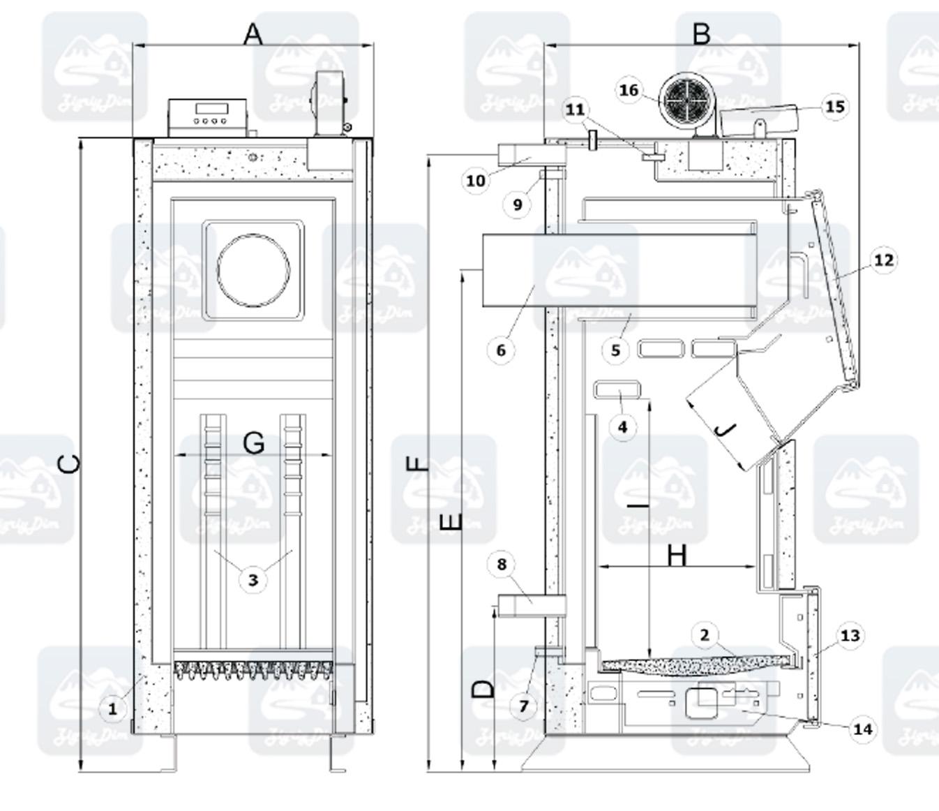 Схема и габаритные размеры твердотопливного котла на дровах и угле Heiztechnik Q Plus