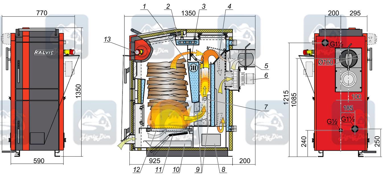 Схема твердотопливного котла длительного горения Kalvis 2-20N