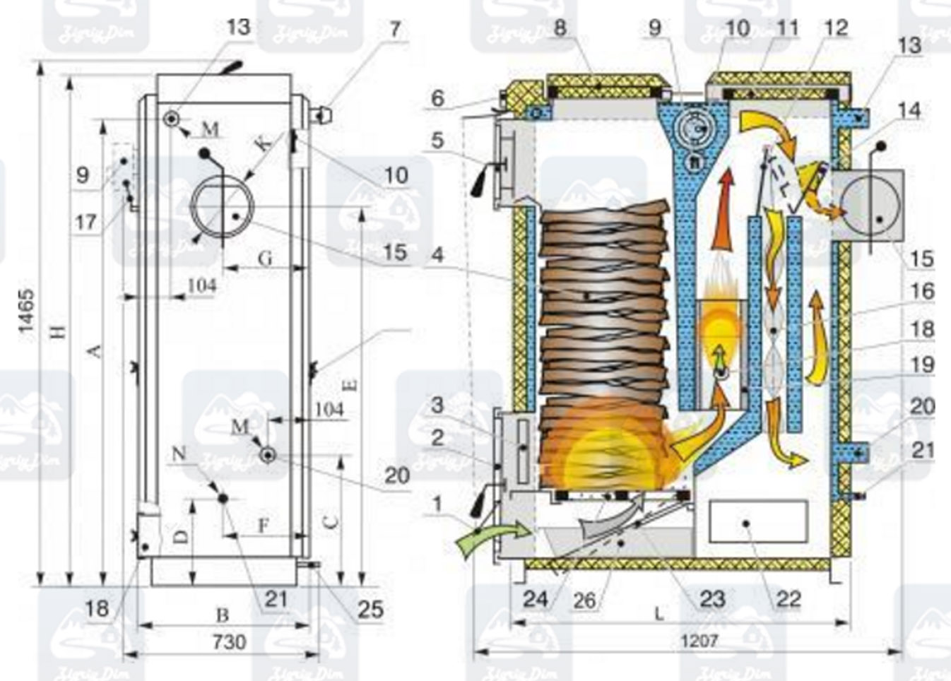 Схема твердотопливного котла длительного горения Kalvis 2-30