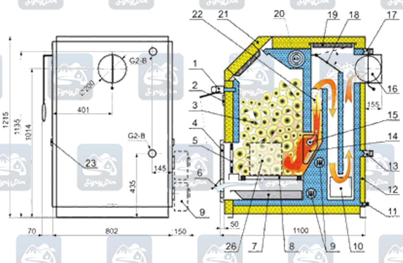 Схема твердотопливного котла длительного горения Kalvis 3-50