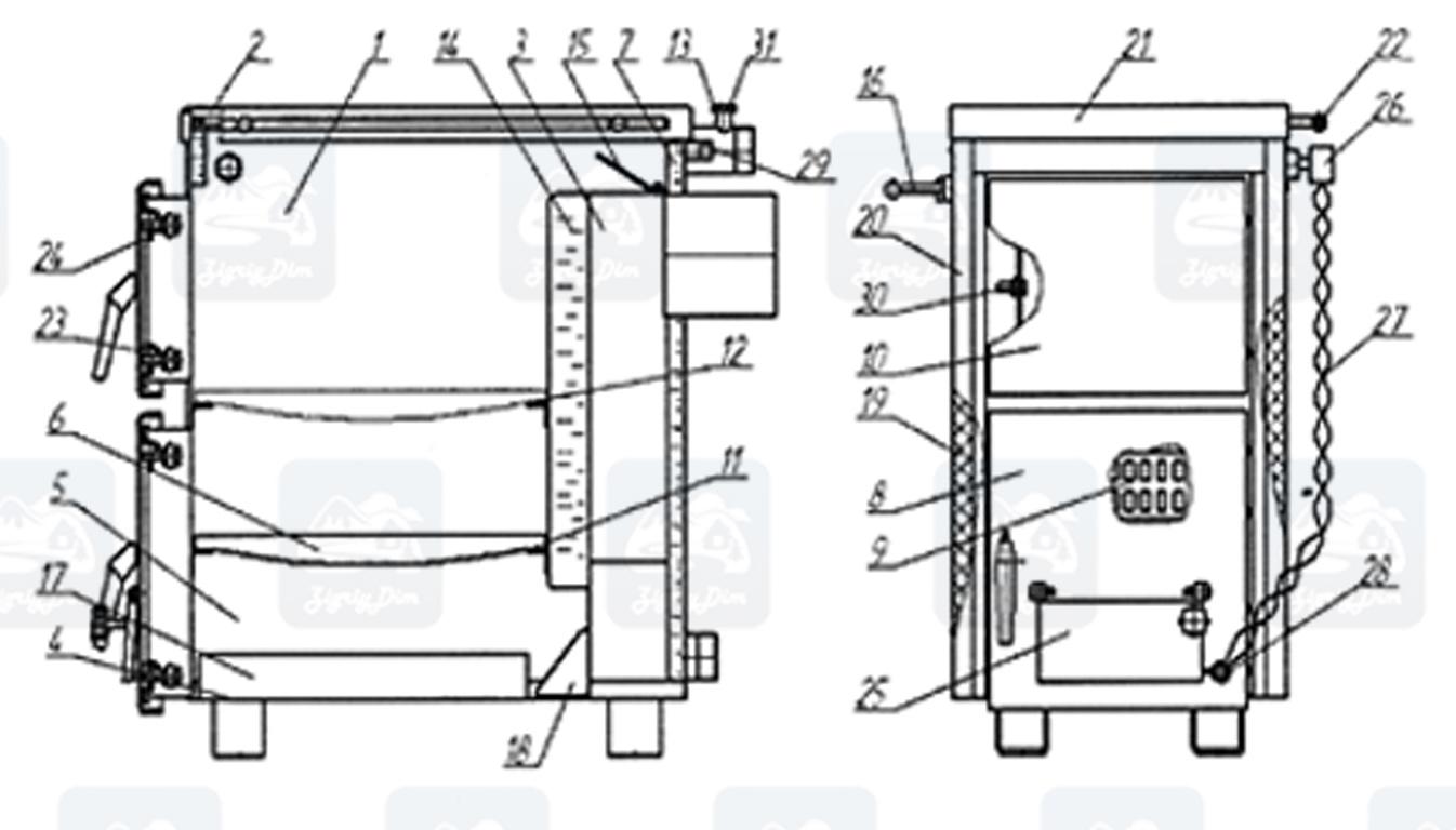 Схема твердотопливного котла-плиты на дровах и угле Корди АКТВ