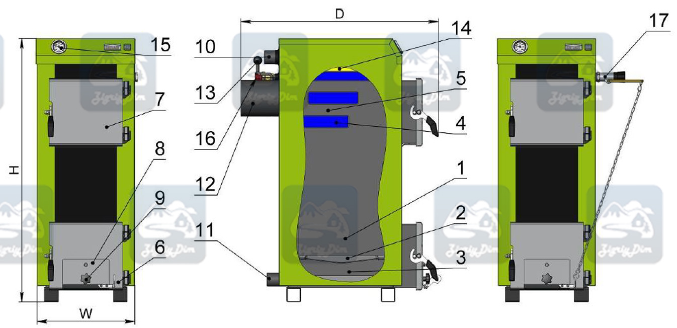 Схема твердотопливного котла на дровах и угле Kotlant КЭ