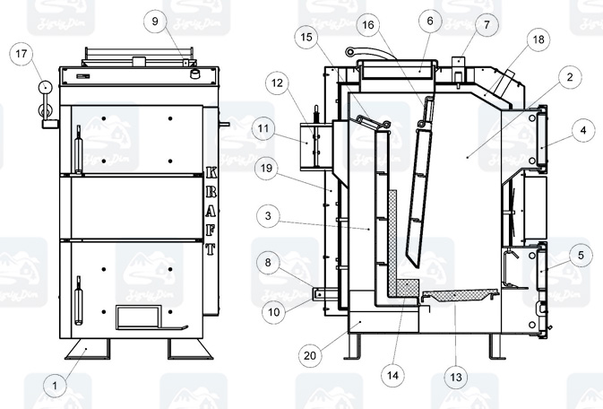 Схема твердотопливного котла Холмова Крафт D