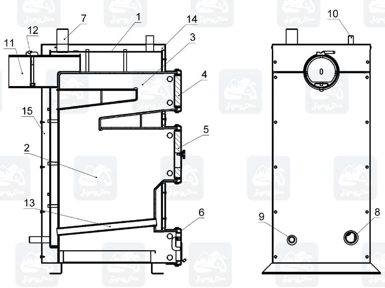 Схема твердотопливного котла на дровах и угле Крафт Е Нью