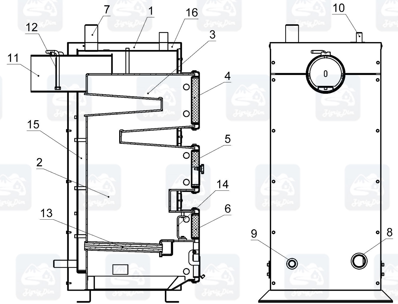 Схема твердотопливного котла на дровах и угле Крафт