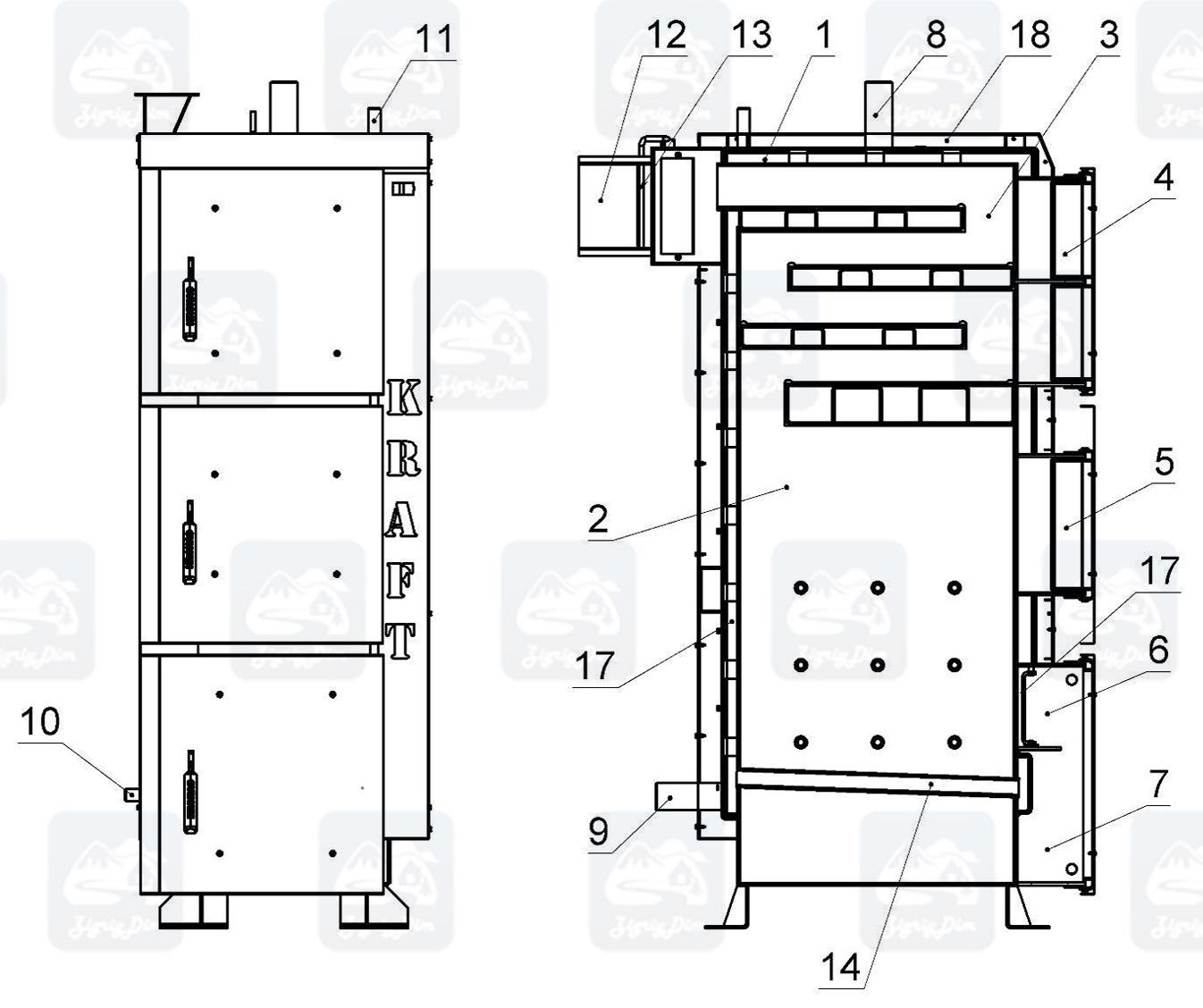 Схема твердотопливного котла длительного горения Крафт Л