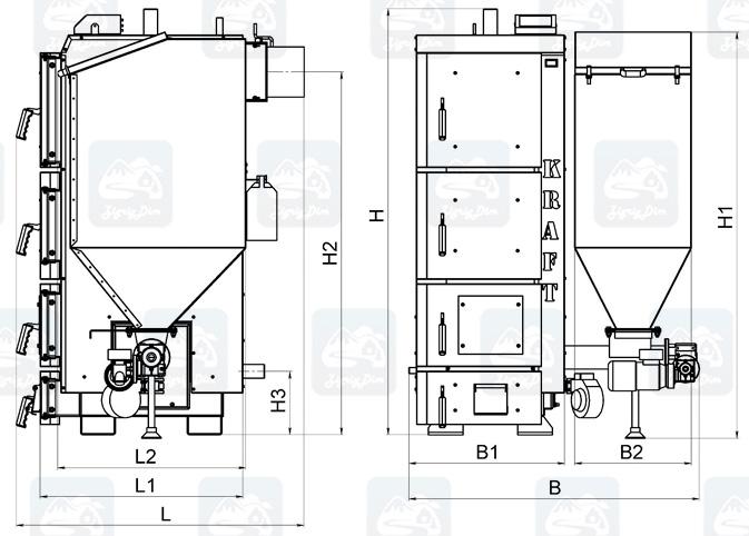 Габаритные размеры пеллетного котла Крафт Р