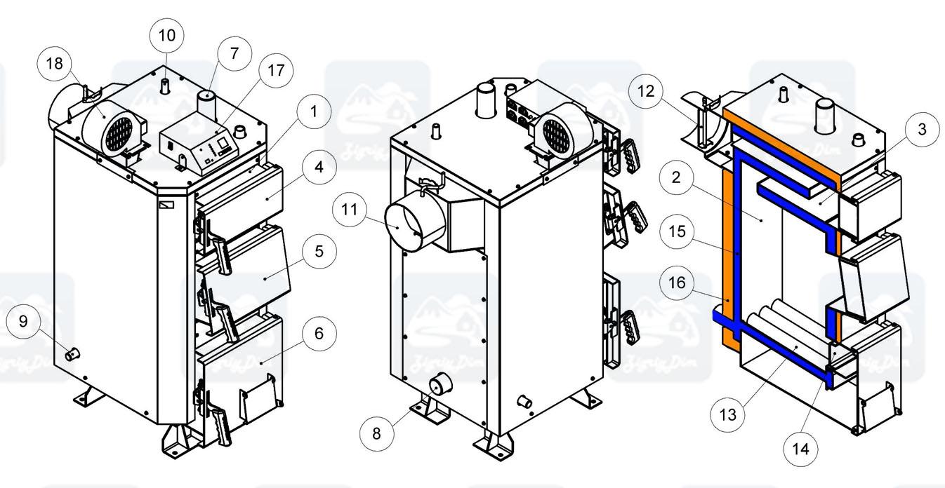 Схема твердотопливного котла на дровах и угле Кронас Стандарт