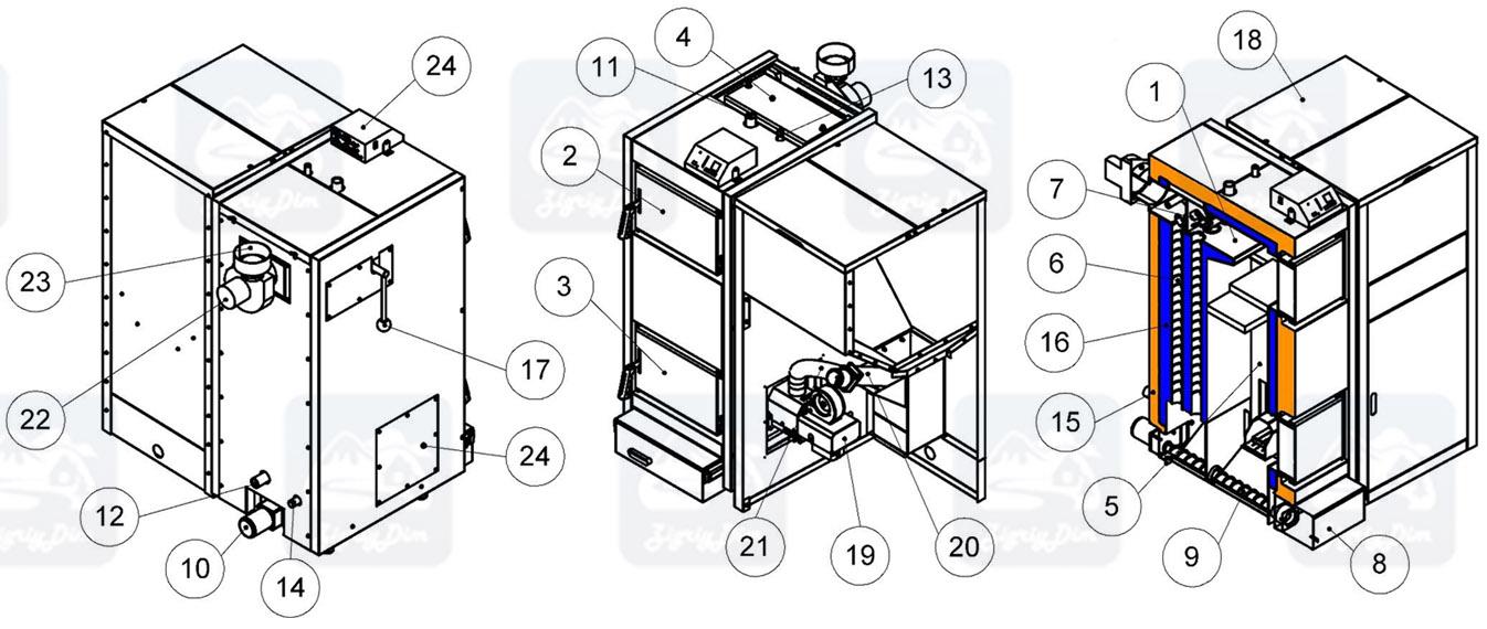 Схема пеллетного котла с автоматической подачей топлива Kronas Auto 5K