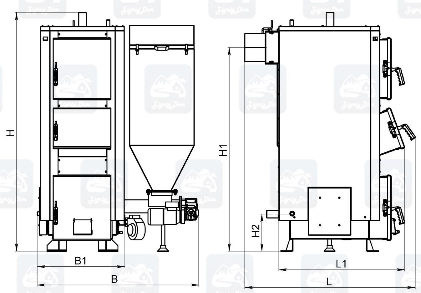 Габаритные размеры пеллетного котла с автоматической подачей топлива Kronas Combi