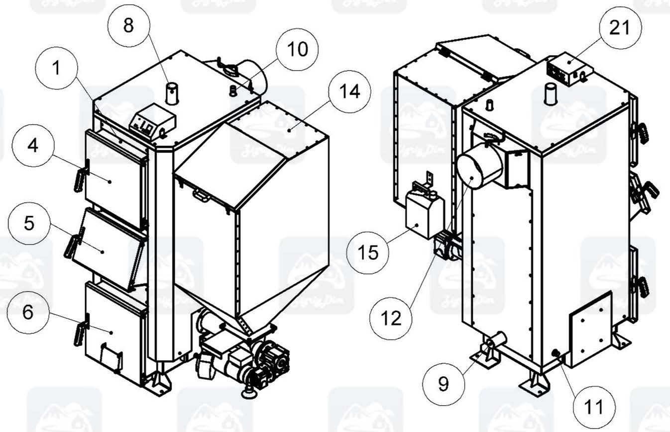 Схема пеллетного котла с автоматической подачей топлива Kronas Combi