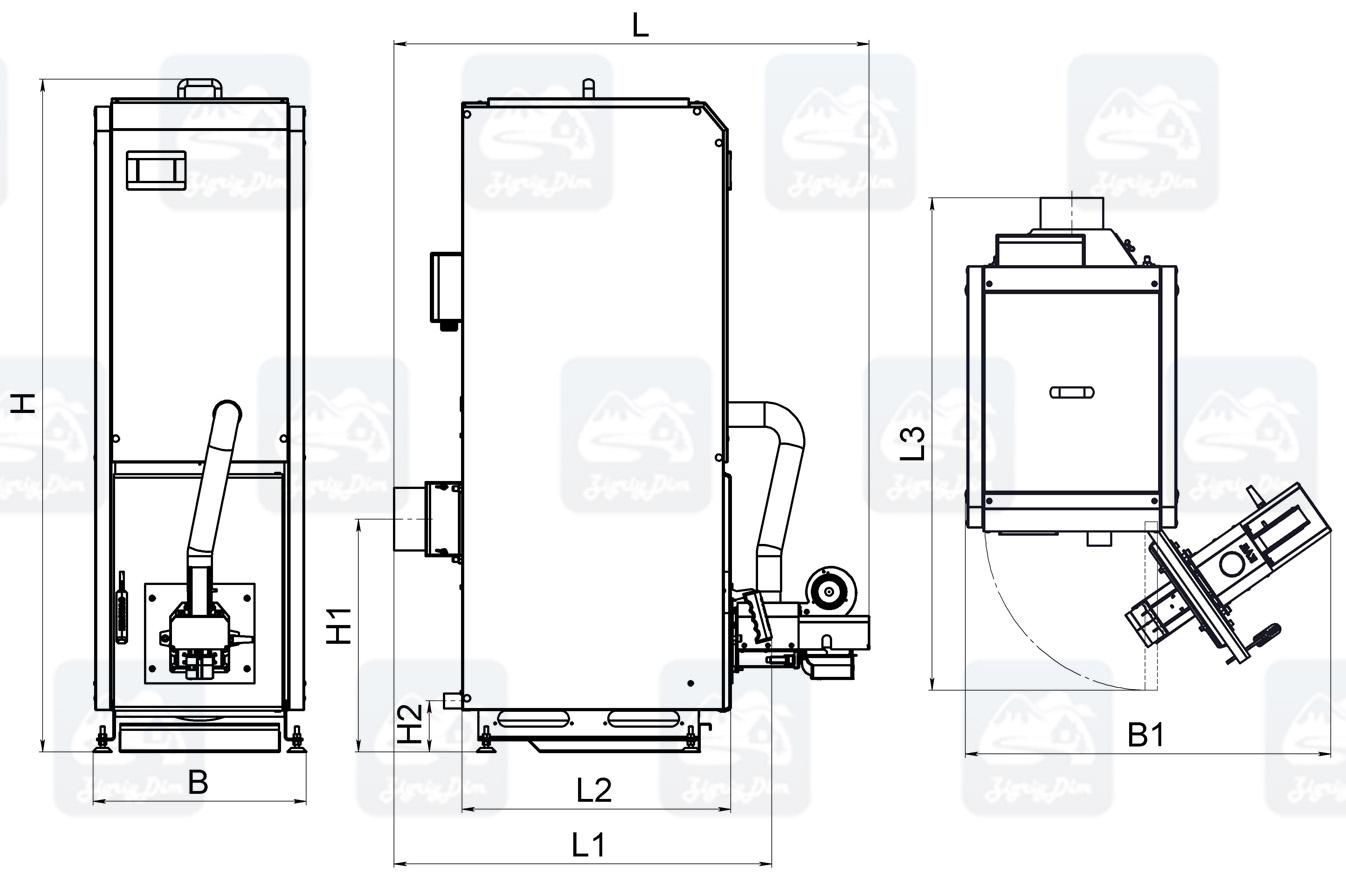 Габаритные размеры пеллетного котла с автоматической подачей топлива Kronas Mini 5K