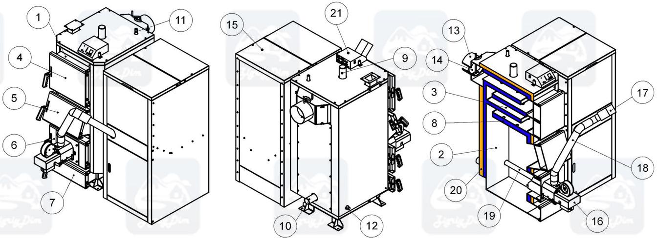 Схема пеллетного котла с автоматической подачей топлива Kronas Pellets