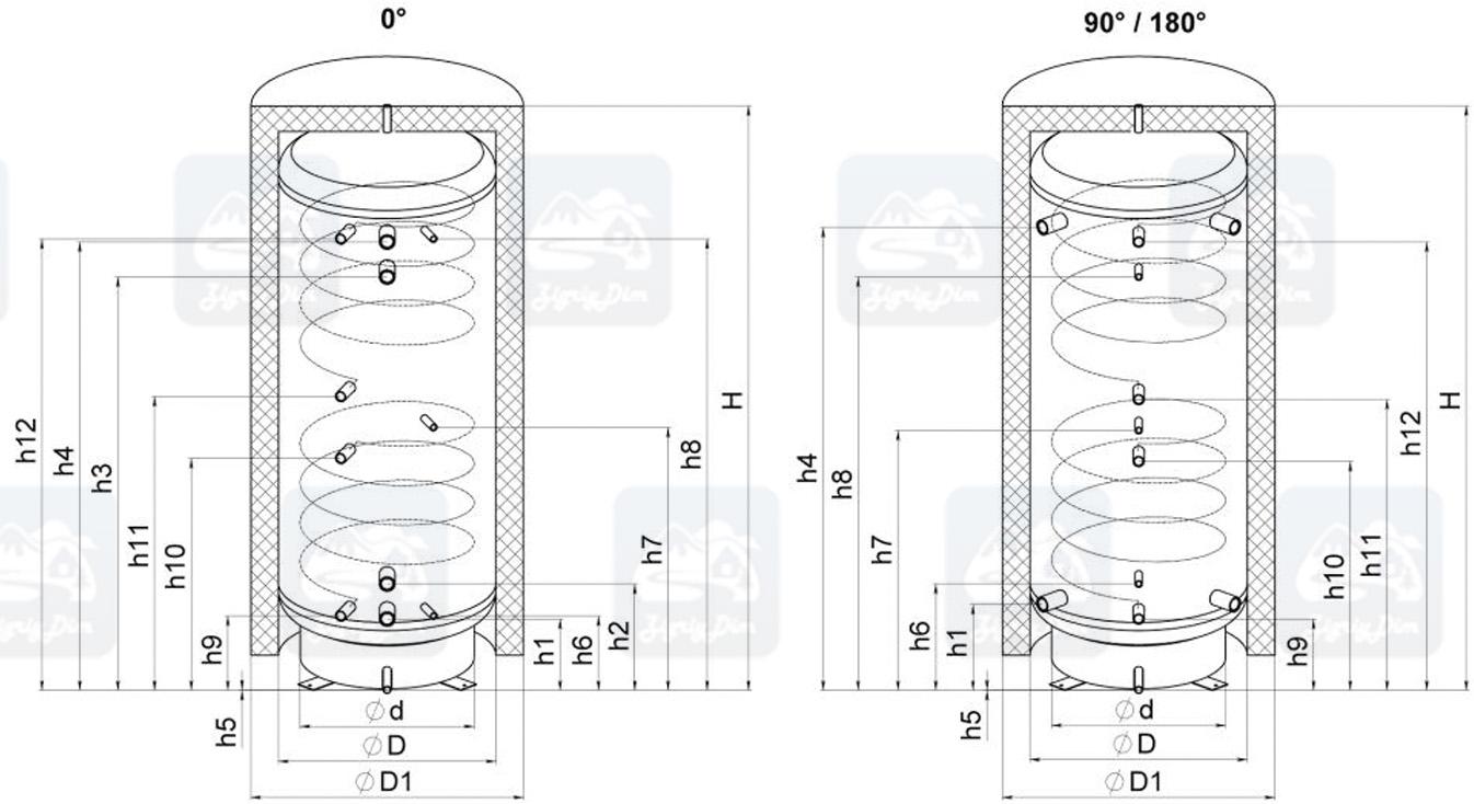 Схема теплоаккумулятора Кронас ТА2 с двумя теплообменниками