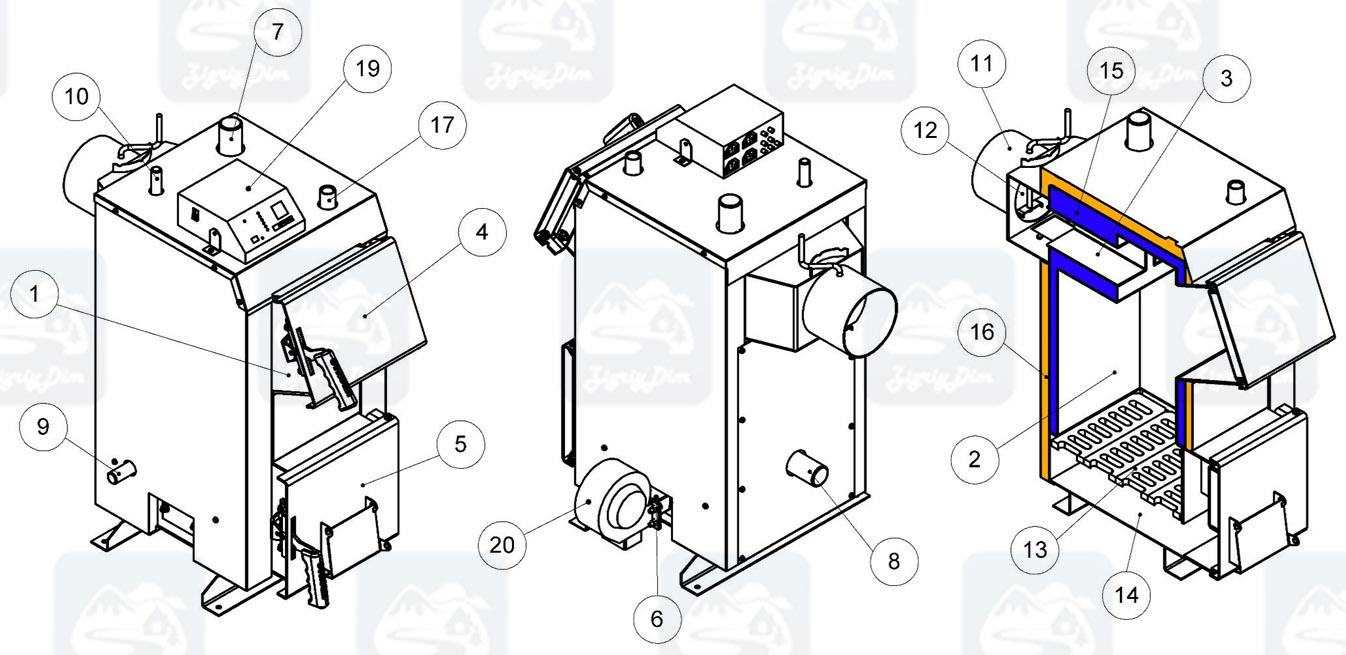 Схема твердотопливного котла на дровах и угле Kronas Eko Plus