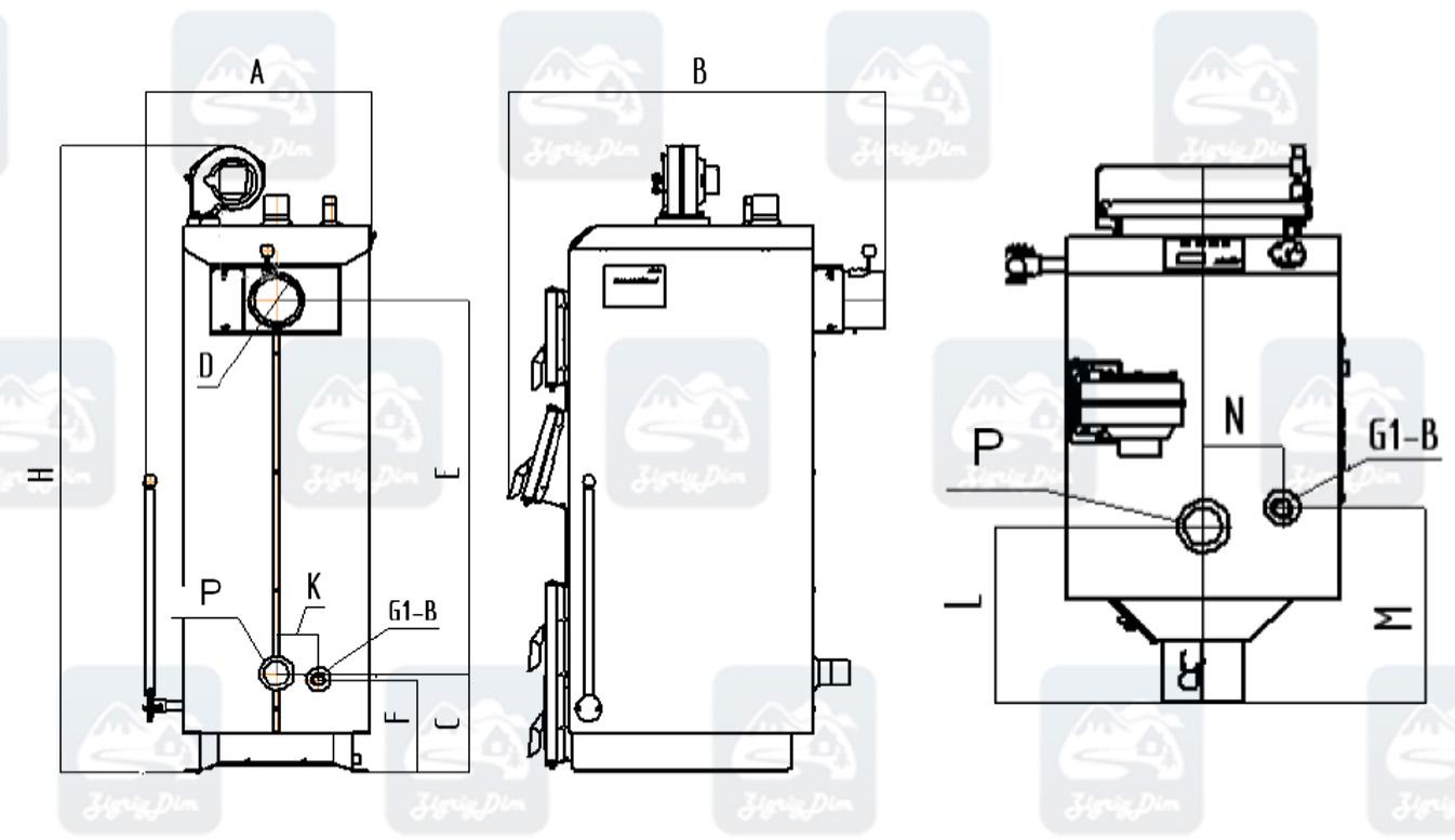 Габаритные размеры твердотопливного котла длительного горения Маяк Eco Manual (16-25 кВт)