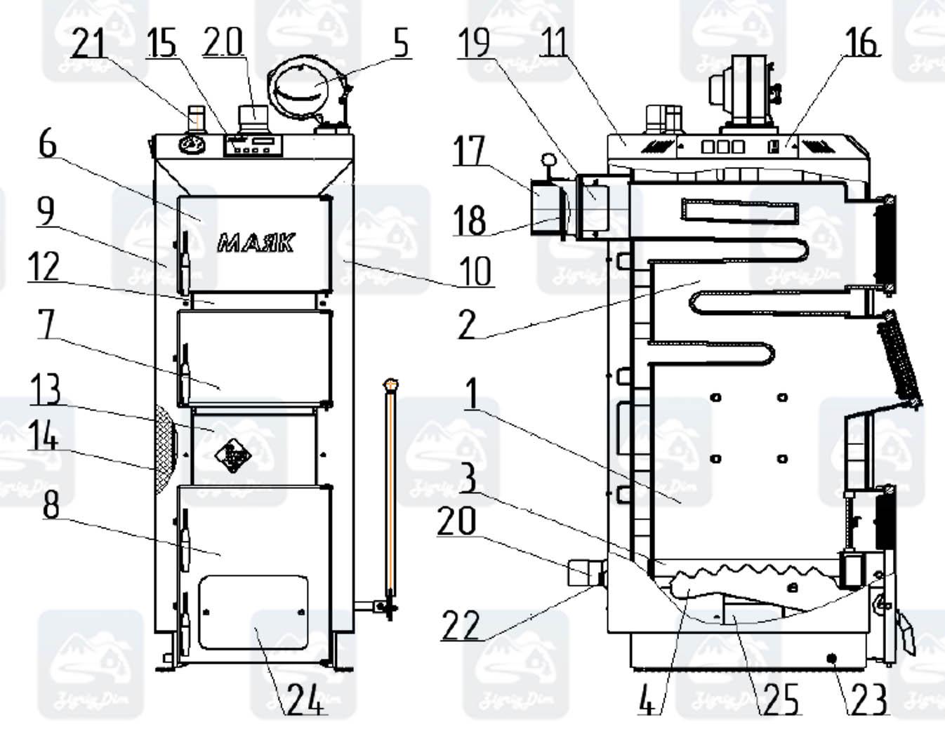 Схема твердотопливного котла длительного горения Маяк Eco Manual 16 кВт