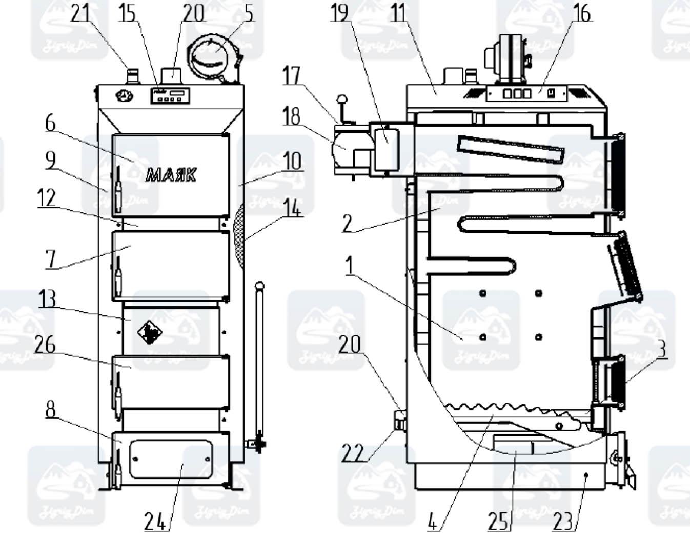 Схема твердотопливного котла длительного горения Маяк Eco Manual 25 кВт