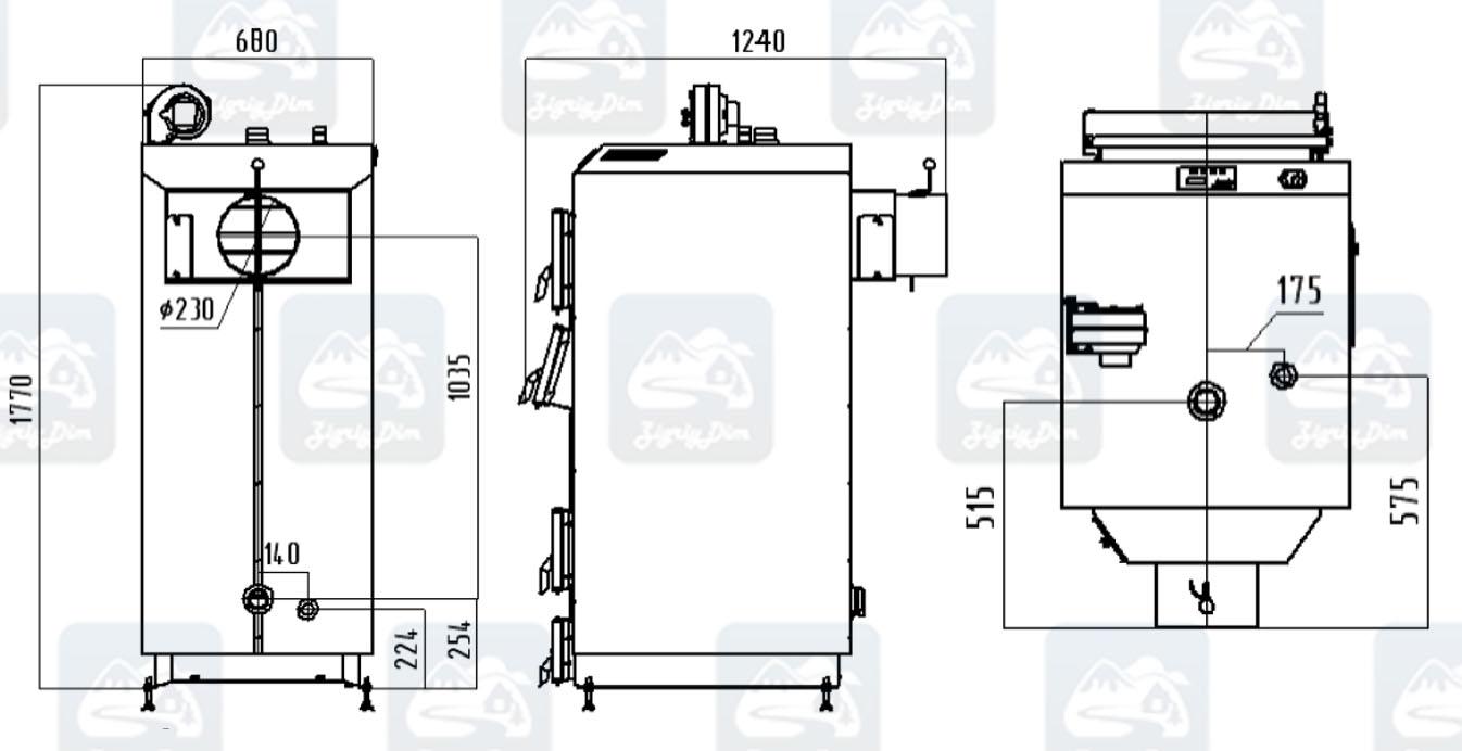 Габаритные размеры твердотопливного котла длительного горения Маяк Eco Manual (50 кВт)