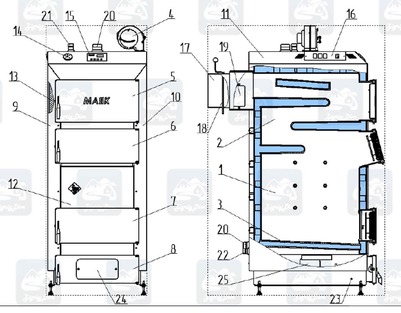 Схема твердотопливного котла длительного горения Маяк Eco Manual 50 кВт