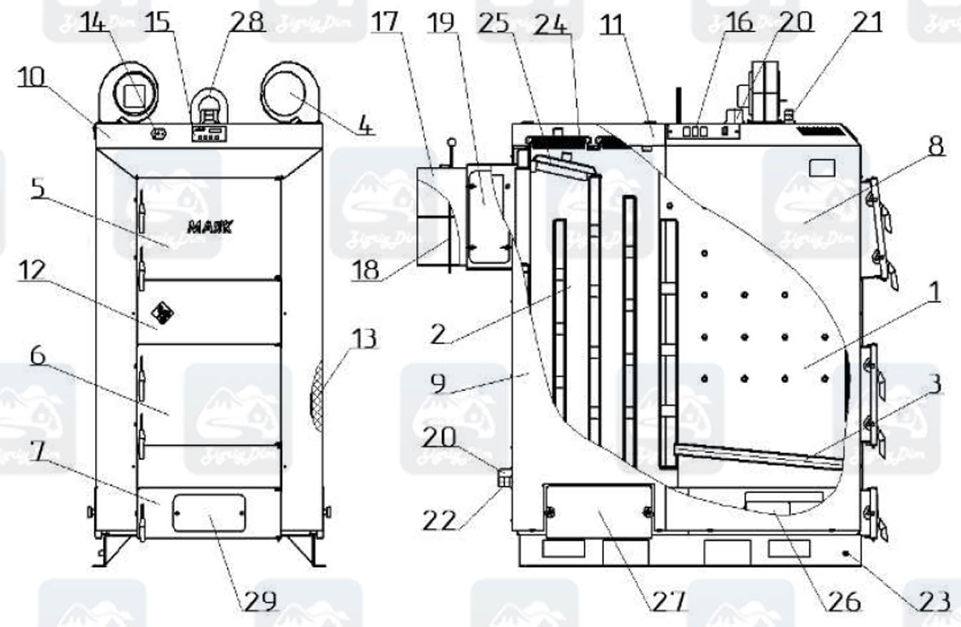 Схема твердотопливного котла длительного горения Маяк Eco Manual 95 кВт