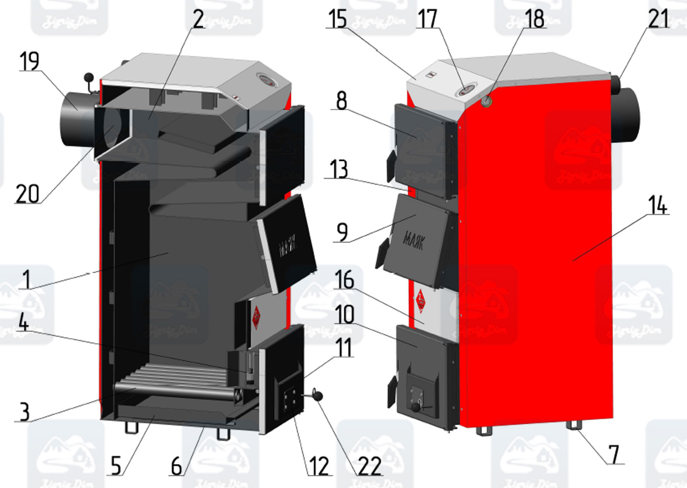 Схема твердотопливного котла на дровах и угле Маяк Standard Plus