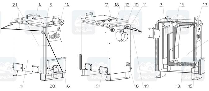 Схема водогрейного котла Неус Майн