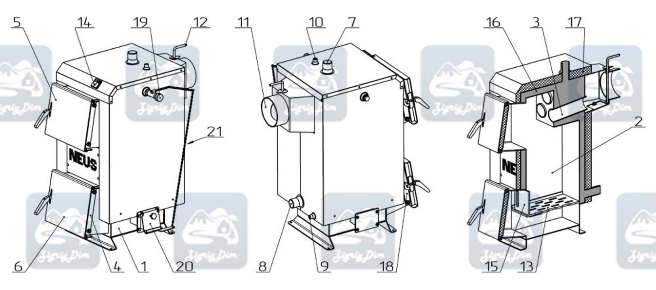 Схема твердотопливного котла Неус Эконом