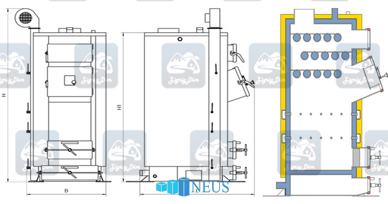 Габаритные размеры котла Неус Вихлач мощностью 50-65 кВт