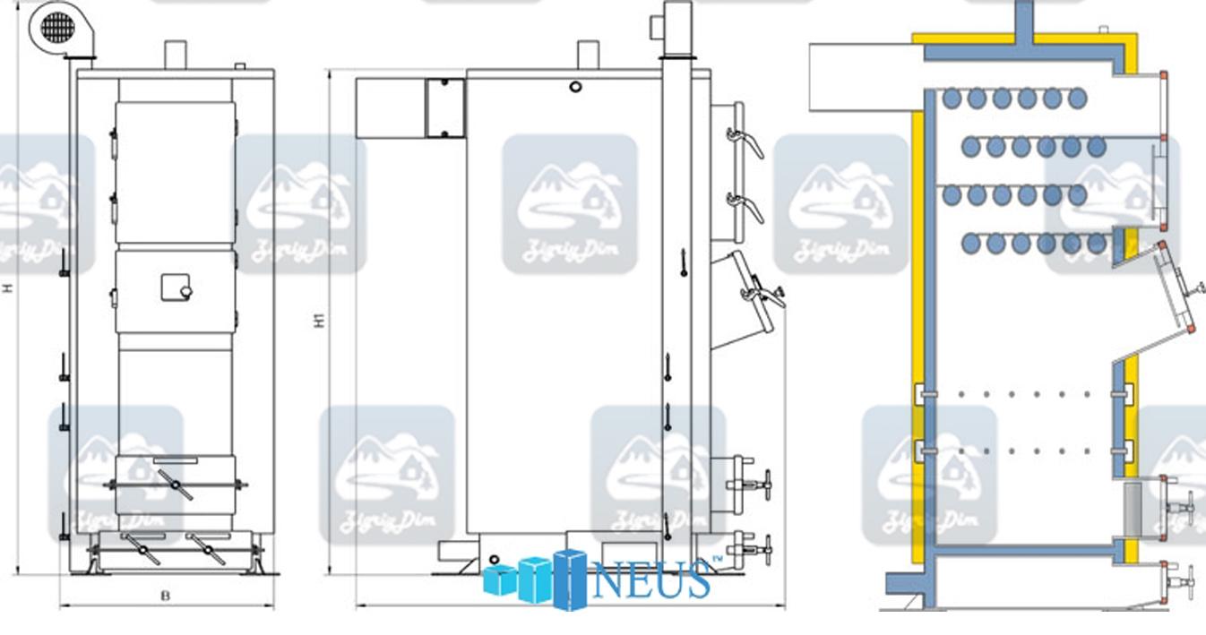 Габаритные размеры котла Неус Вихлач мощностью 75-120 кВт