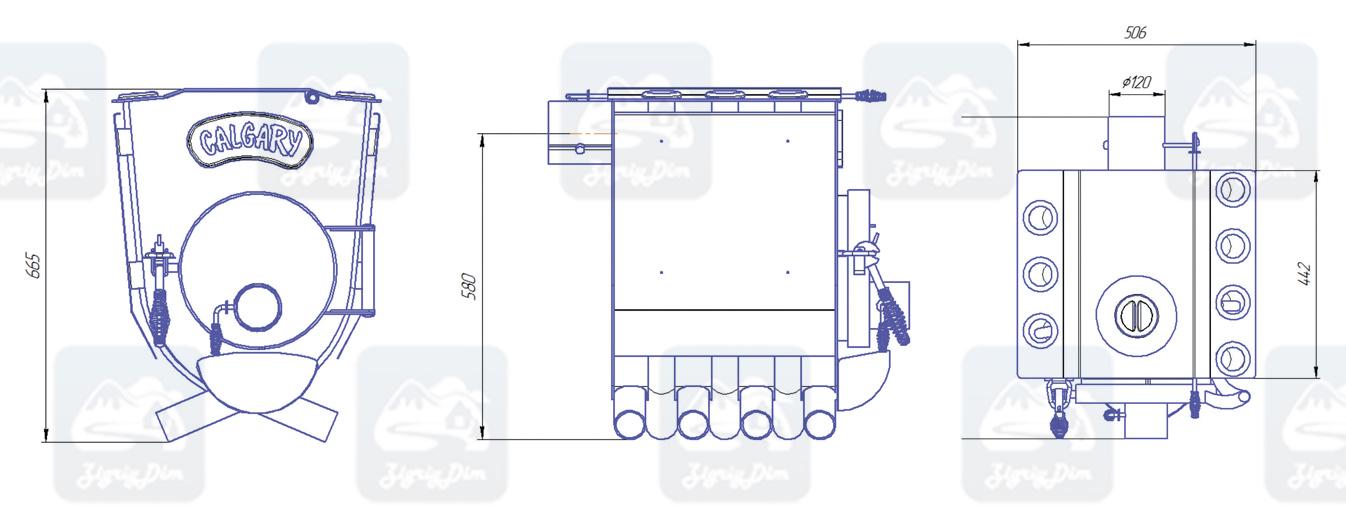Габаритные размеры булерьяна с варочной поверхностью Новаслав Calgary Lux