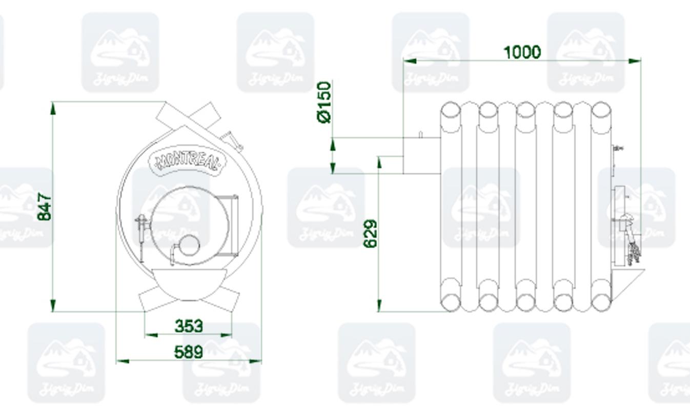 Габаритные размеры и схема строения булерьяна Новаслав Montreal