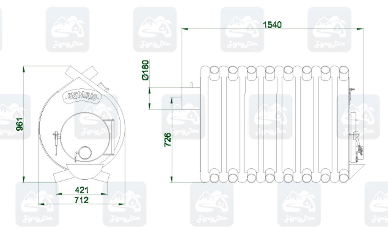 Габаритные размеры и схема строения булерьяна Новаслав Ontario