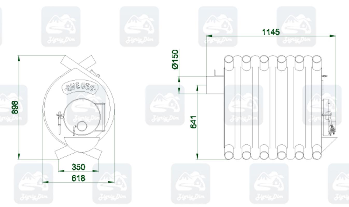Габаритные размеры и схема строения булерьяна Новаслав Quebec