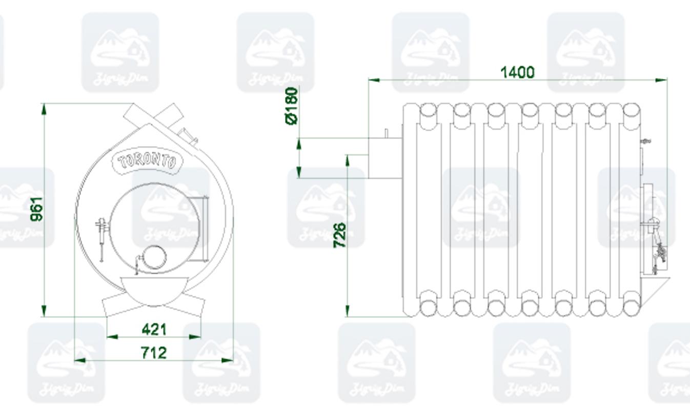 Габаритные размеры и схема строения булерьяна Новаслав Toronto