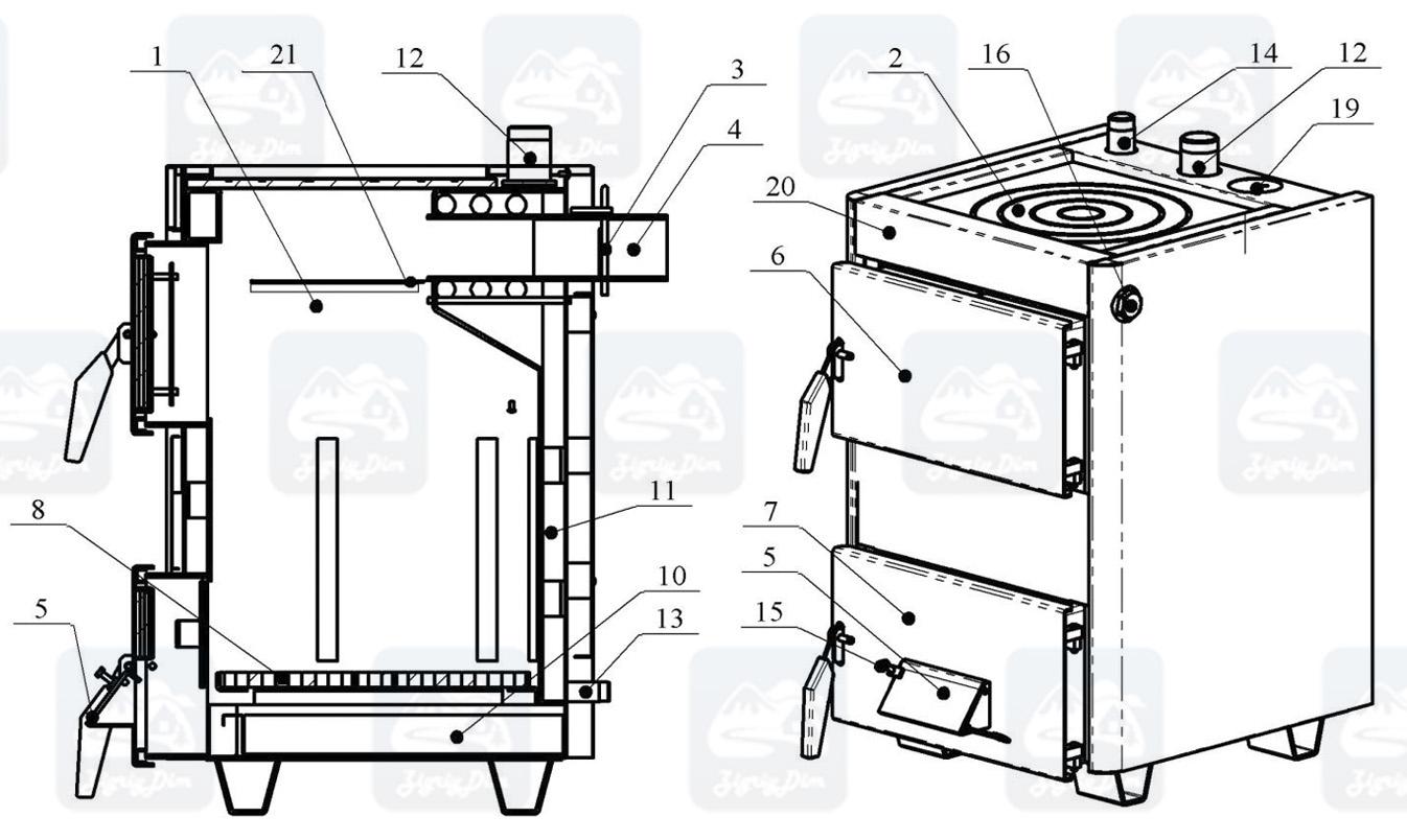 Схема твердотопливного котла-плиты на дровах и угле Проскуров АОТВ-К (14 кВт)