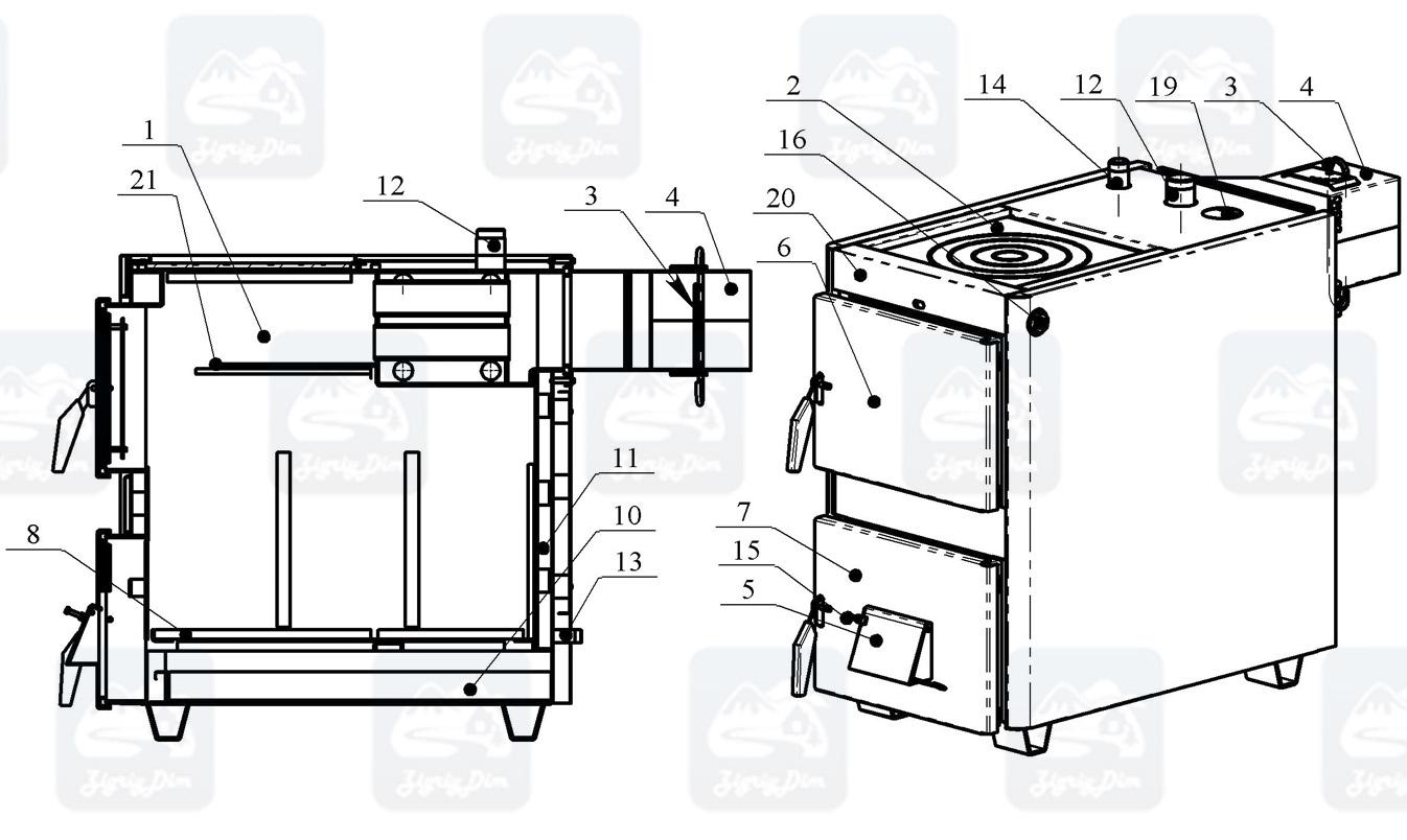 Схема твердотопливного котла-плиты на дровах и угле Проскуров АОТВ-К (18-25 кВт)