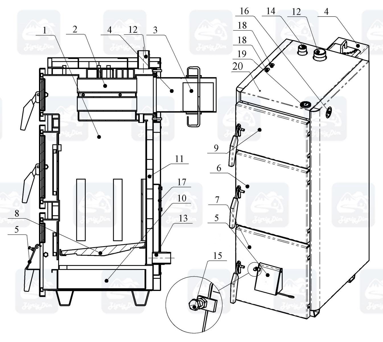 Схема твердотопливного котла на дровах и угле Проскуров АОТВ-Н