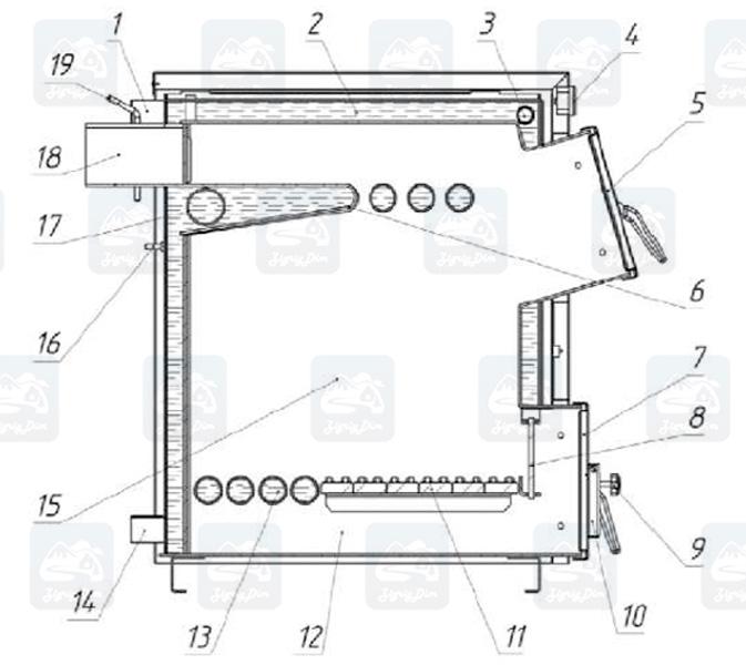 Схема твердотопливного котла Протек Д Люкс 15-30 кВт