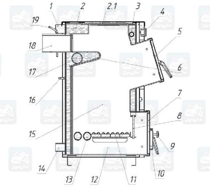 Схема твердотопливного котла с плитой Протек Д Люкс