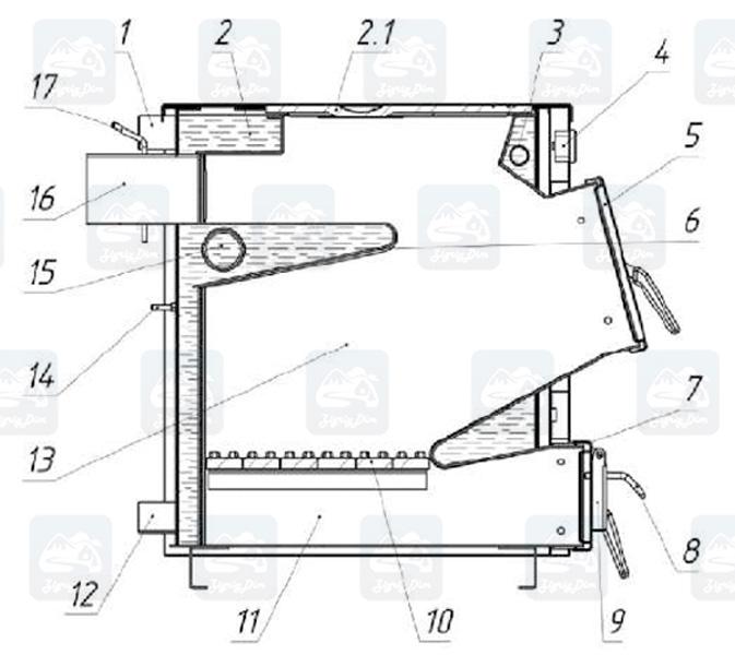Схема твердотопливного котла с плитой Протек Стандарт Плюс