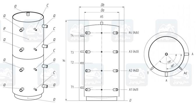 Схема теплоаккумуляторного бака Протек