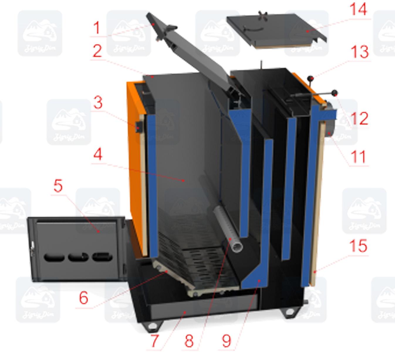 Схема устройства твердотопливного котла Холмова шахтного типа Ретра-6М Комфорт