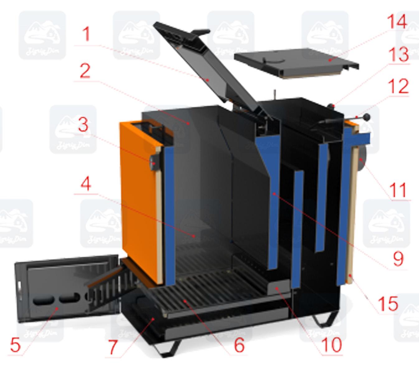 Схема устройства твердотопливного котла Холмова шахтного типа Ретра-6М