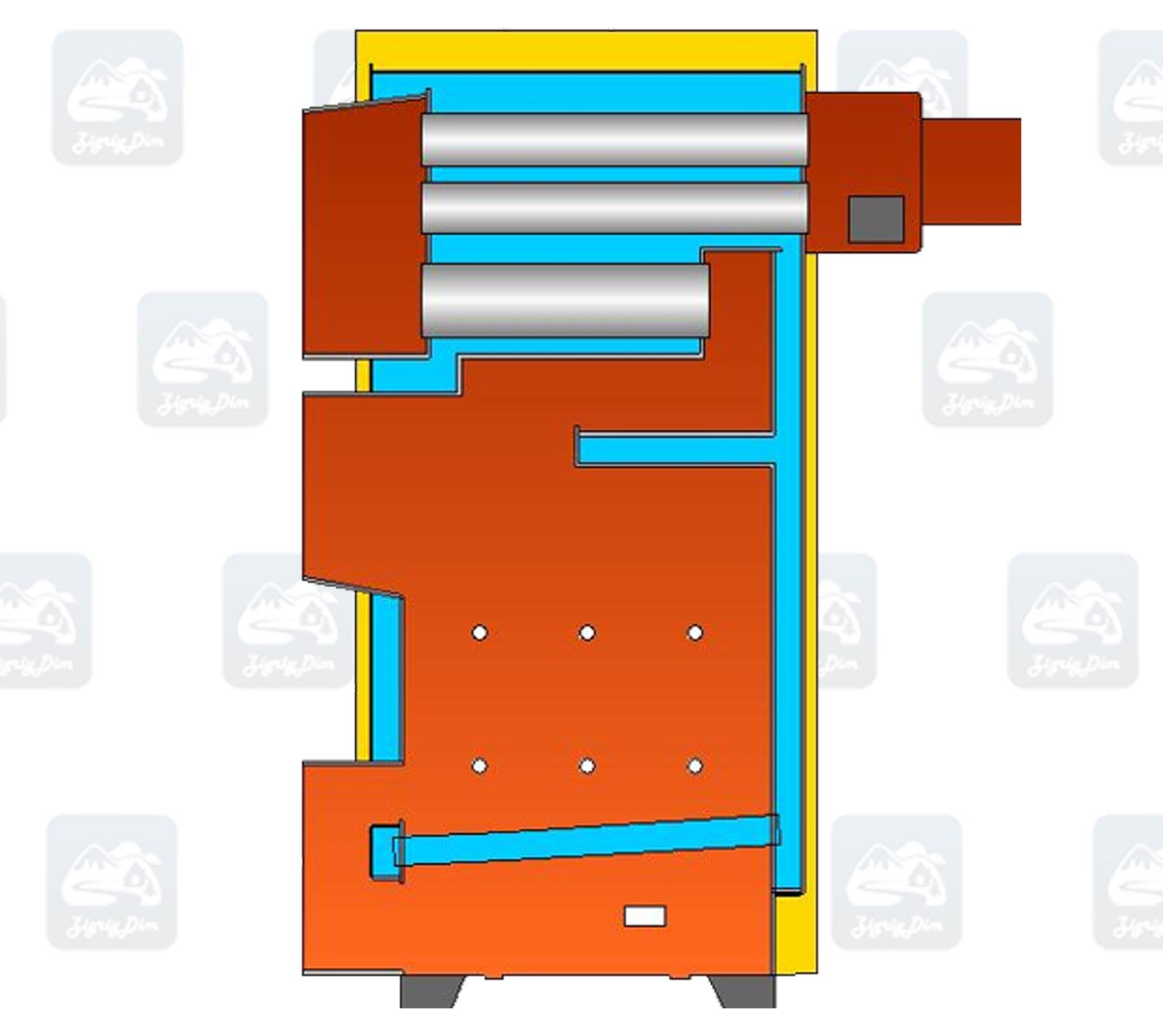 Схема пеллетного котла с автоматической подачей топлива Warmhaus Black Pellet